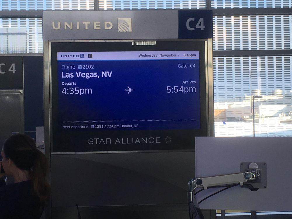 De vlucht naar Las Vegas gehaald nog even wachten en dan boarden