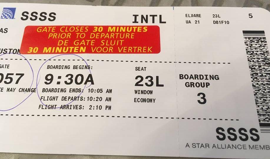 Mijn Boardingpass met SSSS maw extra controle aan de gate