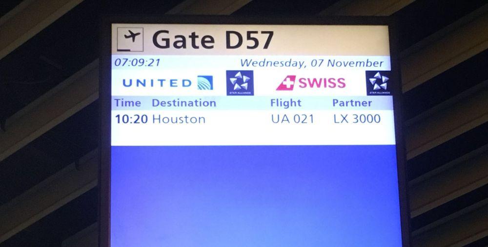 Informatie bord Gate D57 Schiphol