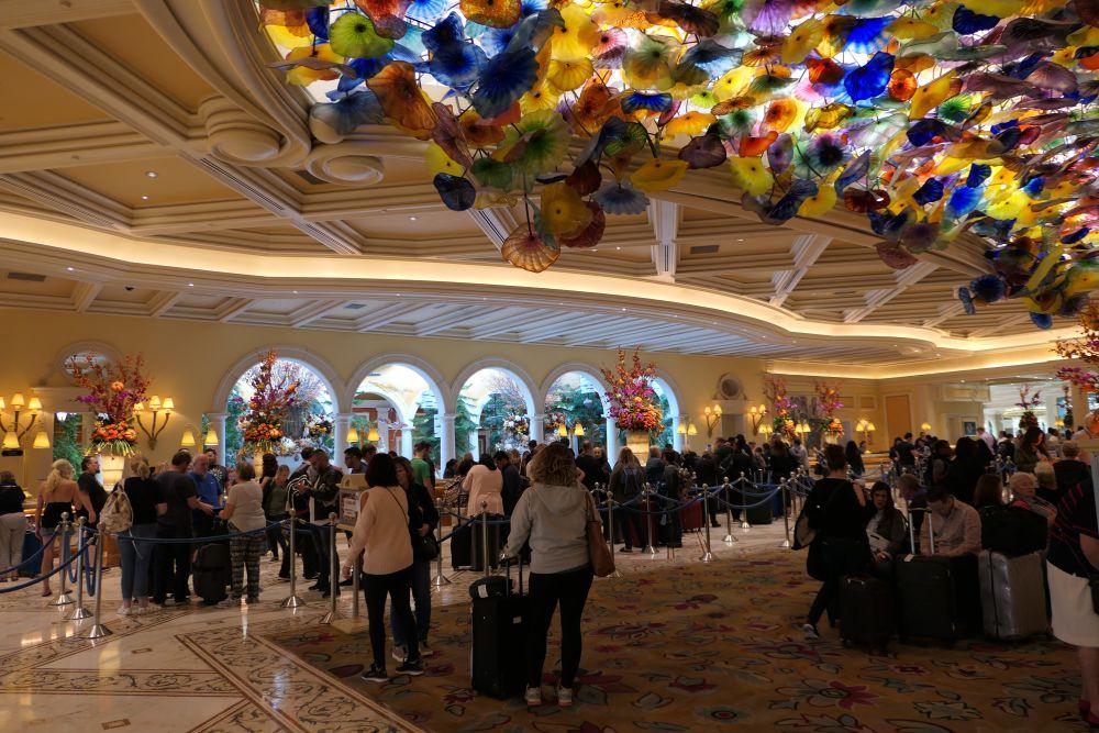 Lobby Bellagio met het glazen bloemen plafond