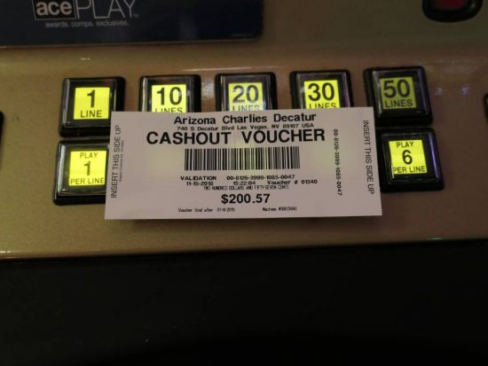 Cashout Voucher Arizona Charlie's Decatur Casino