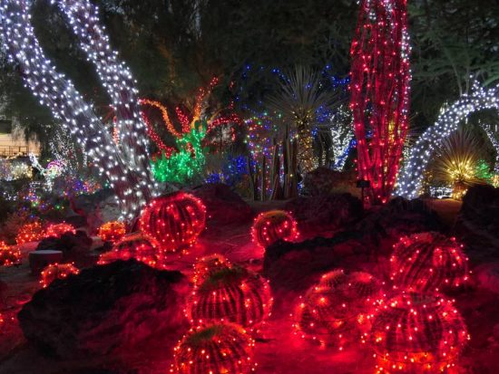 Kerstmis lichtshow Ethel M Botanical Cactus Garden