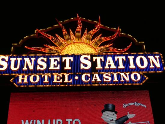 Close-up Sign Sunset Station - Casino