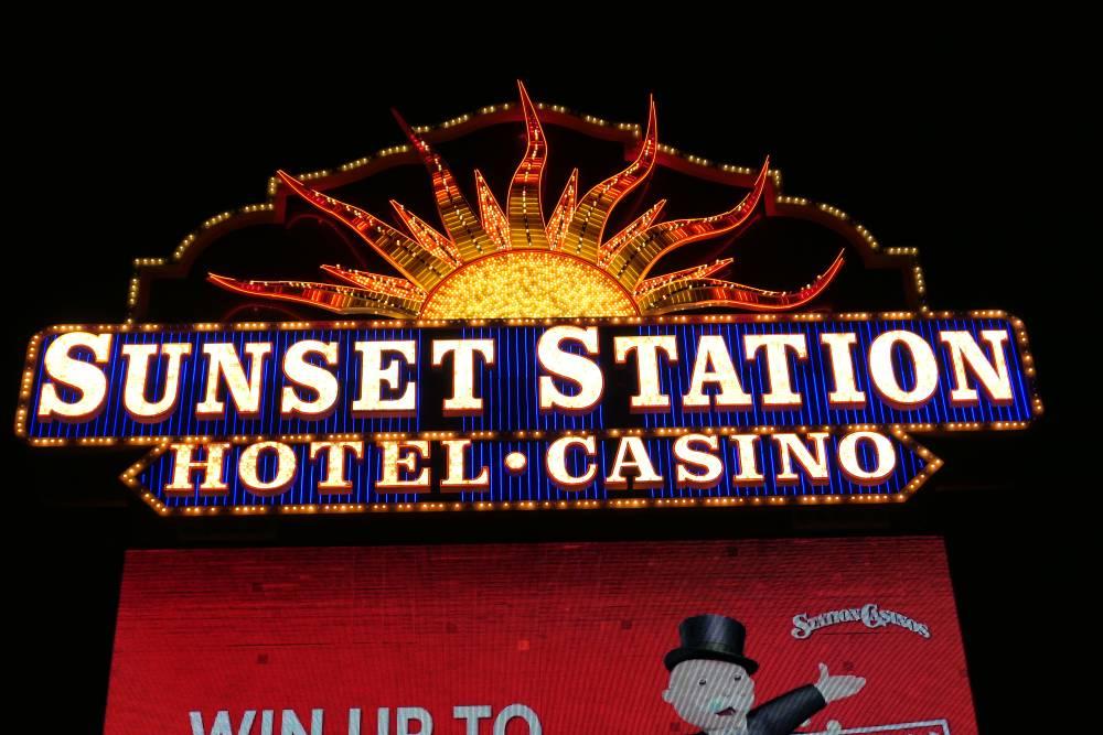 Close-up Sign Sunset Station - Casino
