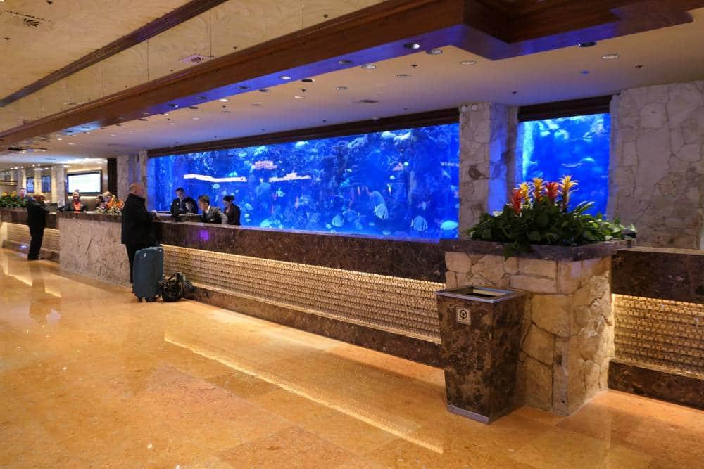 Het grote aquarium achter de receptie MIrage Hotel