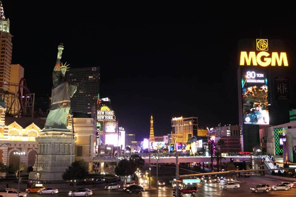The Strip in Las Vegas ter hoogte van hotel New York - New York