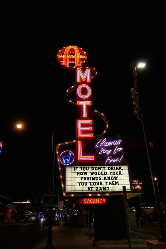Neon Sign Ambassador Motel Downtwon Las Vegas