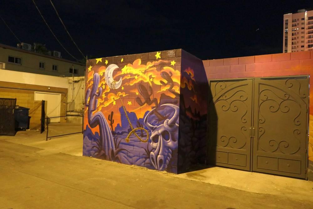 Mural woestijn 's nachts