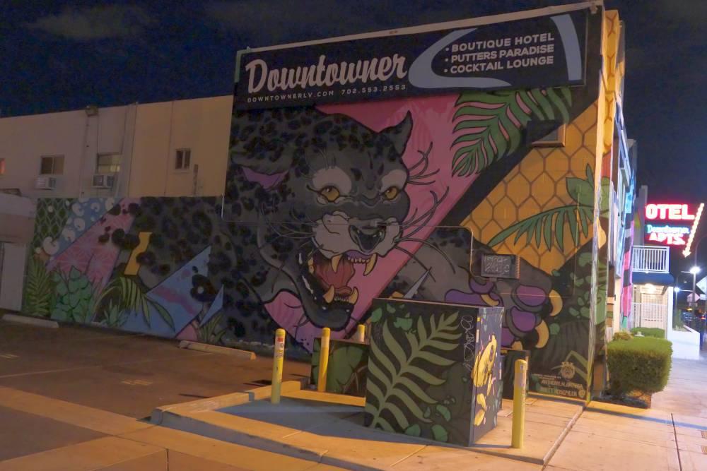 Muurschildering Downtowner Hotel in Las Vegas