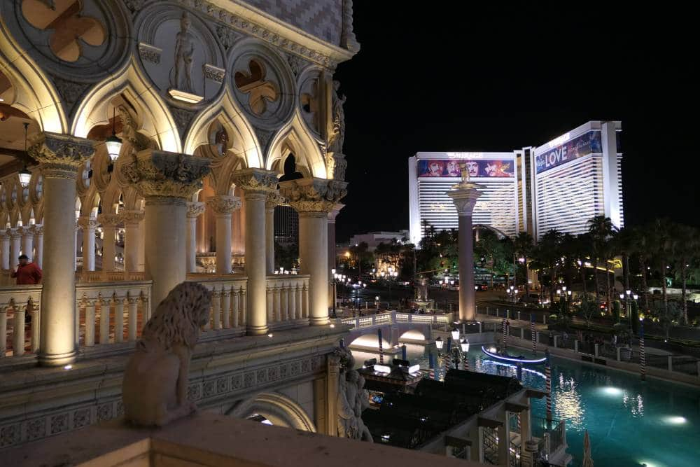 Uitzicht vanui8t het Venetian Hotel in Las Vegas