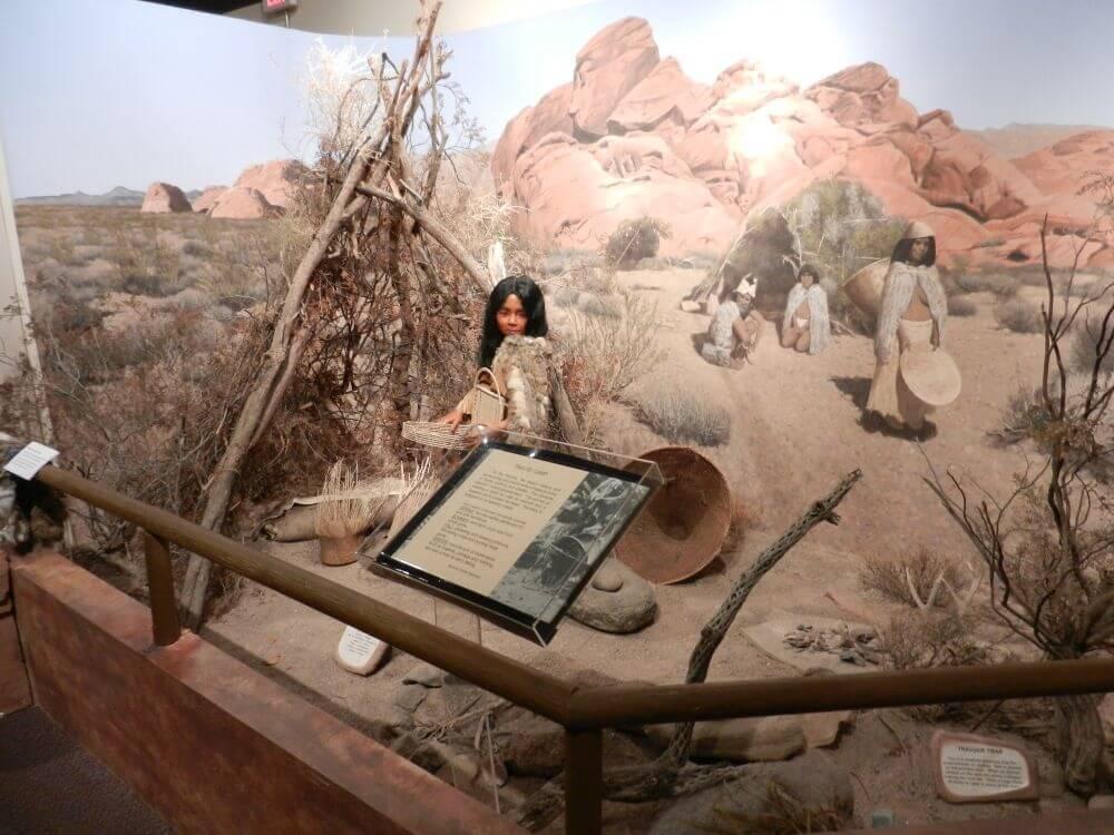 Paiute, de oorspronkelijk bewoners. Te zien in het Clark County Museum in Nevada.