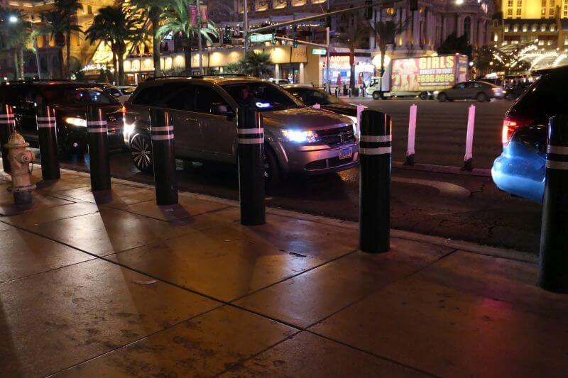 Paaltjes langs de Las Vegas Strip voor extra veiligheid