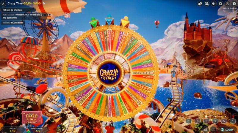 Printscreen van Crazy Time Bonus op BetCity Casino